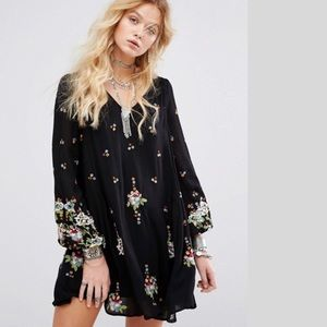 Free People New Black Embroidery mini dress NWT